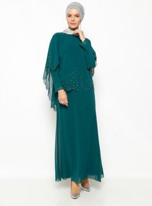 Taşlı Abiye Elbise - Yeşil