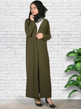 Uzun Sendi Hırka - Haki Yeşil