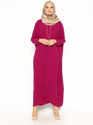 Yarasa Kollu Elbise - Fuşya