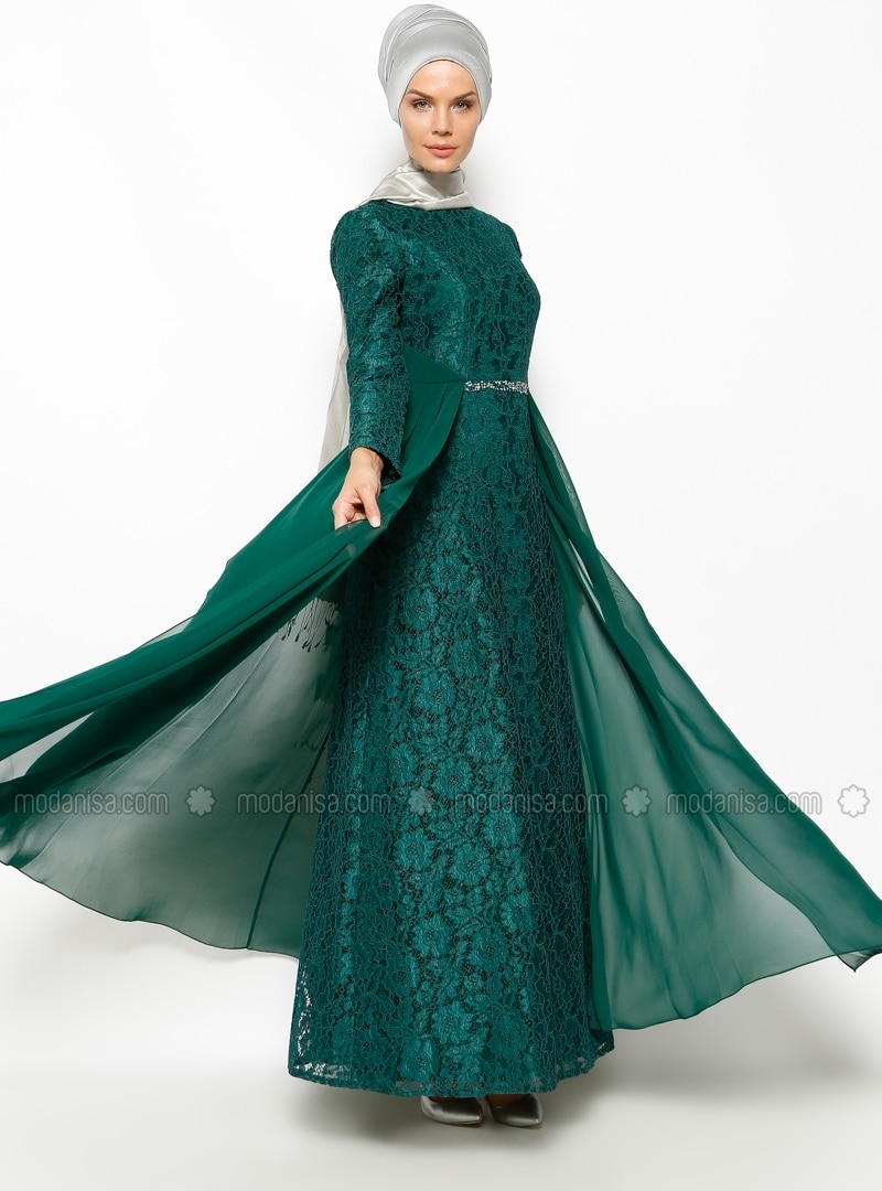 Lace Detailed Evening Dress - Green