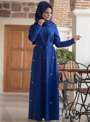İncili Ferace Elbise - Saks Gizem Kış