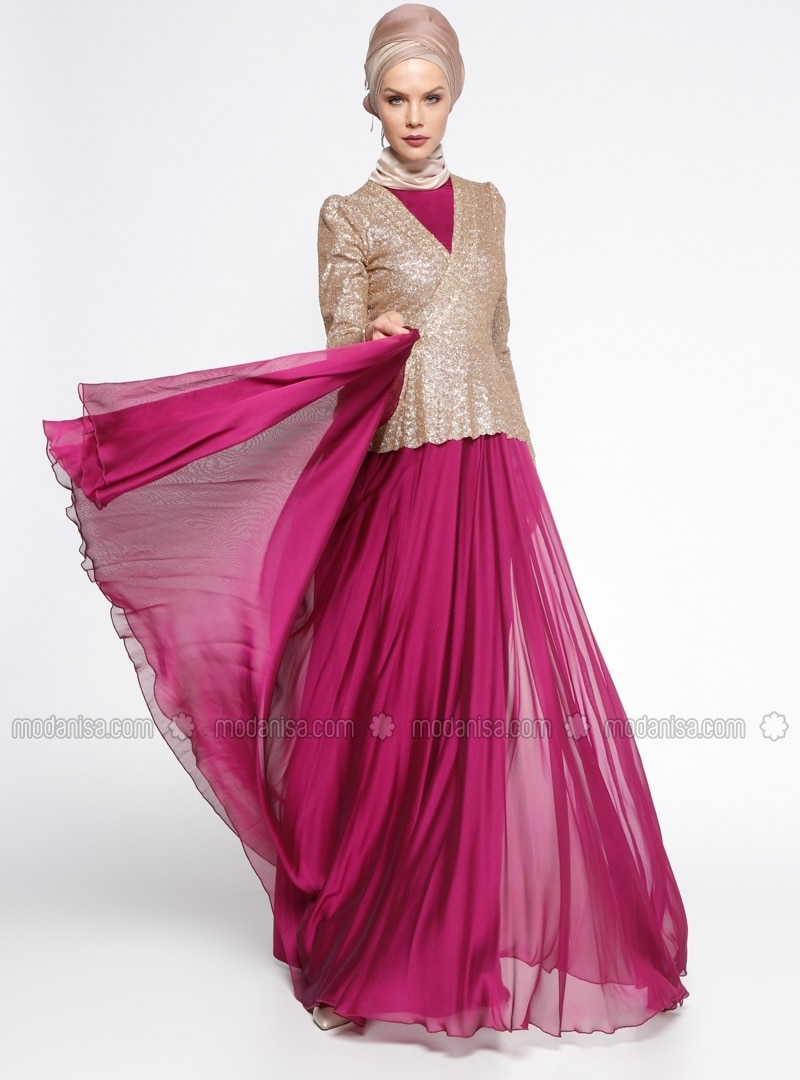 279cb703cdad3 Pink Fully Lined Crew neck Muslim Evening Dress Minel Ask