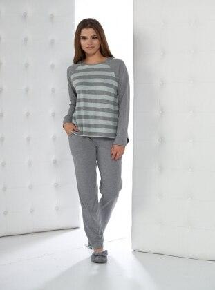 Pijama - Yesil-gri cizgili