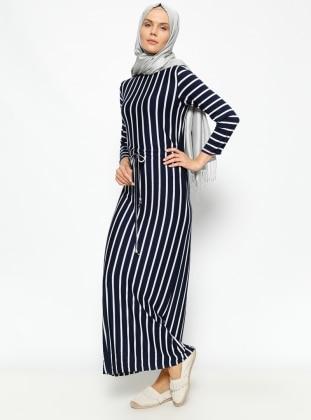 Çizgili Elbise - Lacivert Dadali