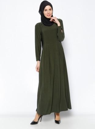 Düz Renk Elbise - Haki