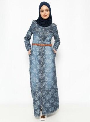 Kemerli Elbise - Füme