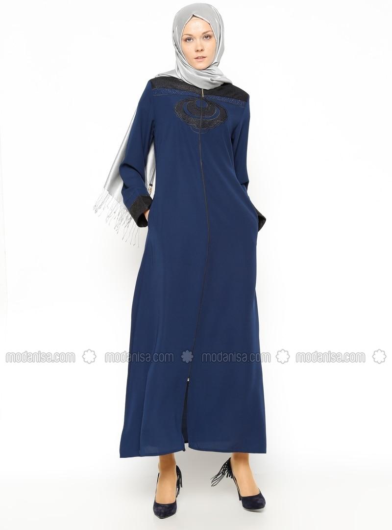 Zippered Abaya - Navy Blue - Pardesu Dunyasi