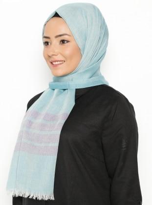 Cotton Şal - Turkuaz Mor Mısırlı