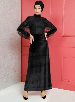 Dantel Detaylı Kadife Abiye Elbise - Siyah