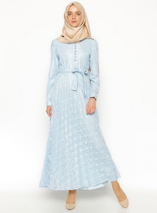 Dantelli Elbise - Mavi