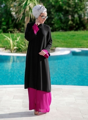 Double Abaya - Black - Minel Ask 235157