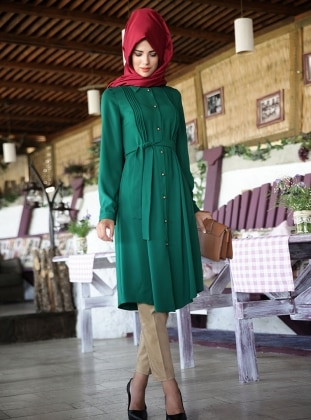 Feyza Ribbed Tunic - Green - Nurkombin 235094