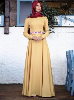 Gülefza Elbise - Hardal
