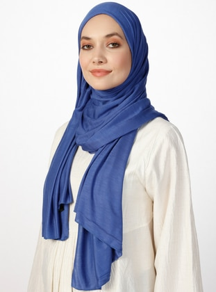 Combed Jersey Scarf - Viscose - Blue