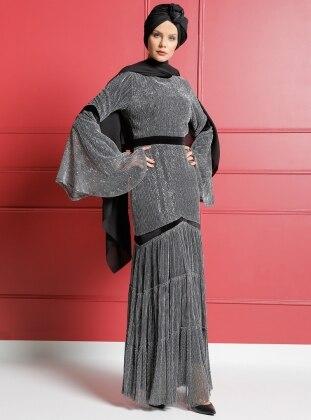 Kadife Garnili Pırıltılı Abiye Elbise - Siyah Gri