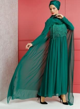 Püskül Detaylı Abiye Elbise - Zümrüt Yeşili
