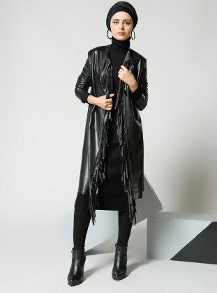 Püskül Detaylı Ceket - Siyah Refka