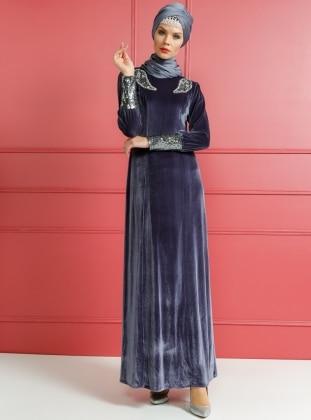 Taşlı Kadife Abiye Elbise - Mavi