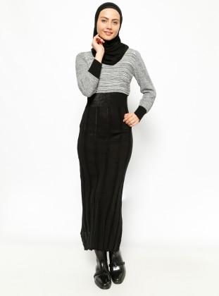 Zentoni Triko Elbise - Siyah