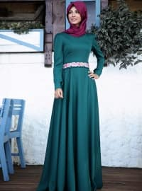 Gülefza Elbise - Zümrüt - Nurkombin