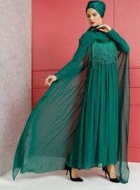 Püskül Detaylı Abiye Elbise - Zümrüt Yeşili - Dersaadet