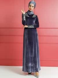 Taşlı Kadife Abiye Elbise - Mavi - Dersaadet