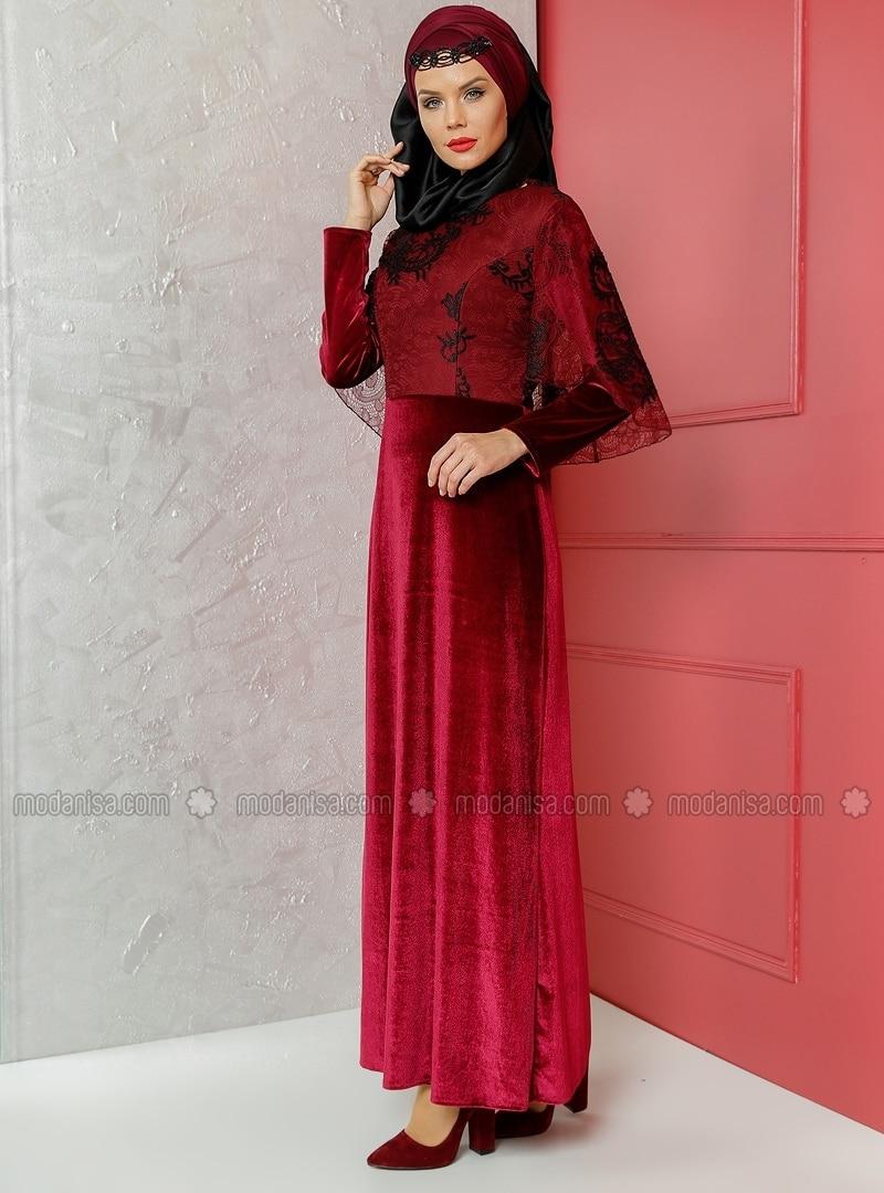 Lace Detail Velvet Evening Dress Purple