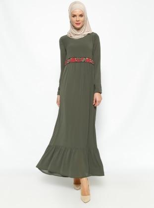 Fırfır Detaylı Elbise - Haki