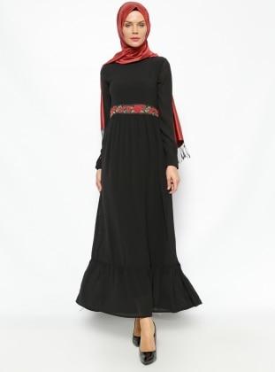 Fırfır Detaylı Elbise - Siyah Modesty