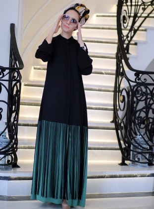 Unlined - Black - Green - Crew neck - Abaya - Minel Ask 235765