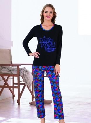 AKBENİZ Pijama - Siyah mavi