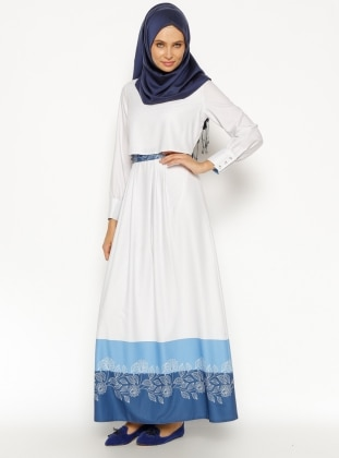 Desenli Elbise - Mavi Etrucci