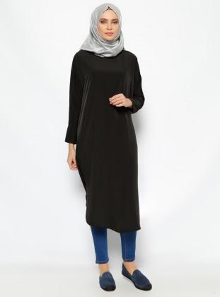 Düz Renk Tunik - Siyah