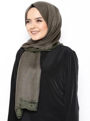 Acrylic - Green - Plain - Lace - Shawl