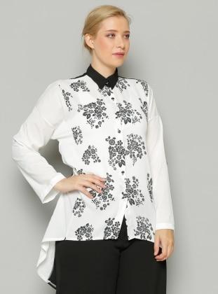 S-Vup Desenli Bluz - Beyaz