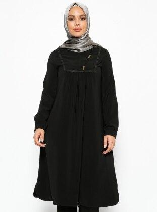 Güpür Detaylı Tunik - Siyah