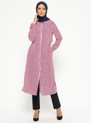 Fuchsia - Stripe - Point Collar - Tunic