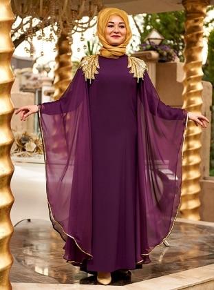 Nesrin Emniyetli Melike Abiye Elbise - Mürdüm