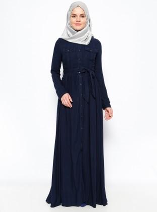 Boydan Düğmeli Elbise - Lacivert