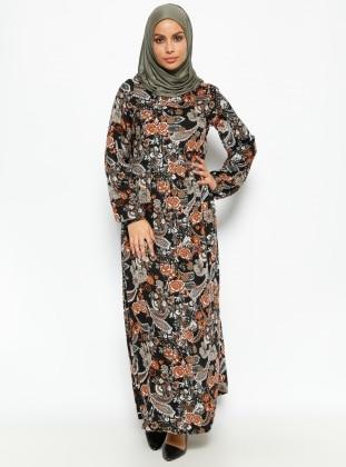CML Collection Çiçek Desenli Elbise - Haki