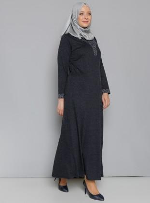 Metex Düğme Detaylı Elbise - Lacivert