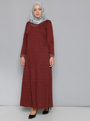 Yaka Detaylı Elbise - Bordo