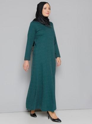 Yaka Detaylı Elbise - Yeşil