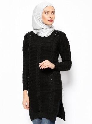 İnci Detaylı Triko Tunik - Siyah Dadali
