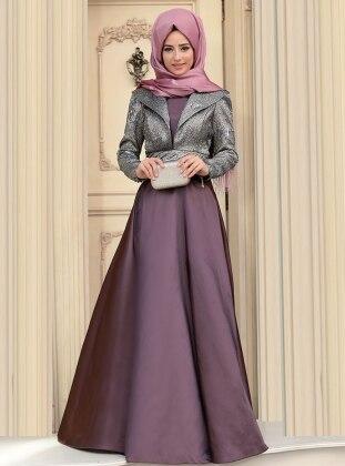 Kösem Abiye Elbise - Füme Zehrace