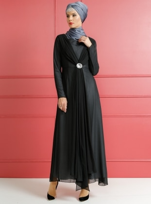 Dersaadet Broşlu Abiye Elbise - Siyah Gri