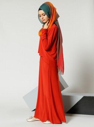 Cep Detaylı Elbise - Kiremit