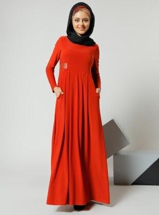 Deri Detaylı Elbise - Kiremit