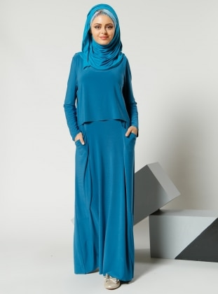 Cep Detaylı Elbise - Petrol