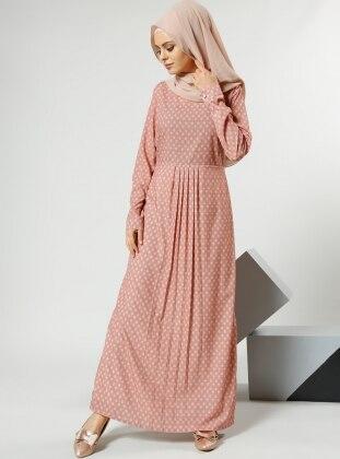 Desenli Elbise - Pudra Refka